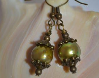 Earrings Pearls, Fresh Water Pearls Earrings, Iris Bronze Pearl Earrings, Green Pearl Earrings