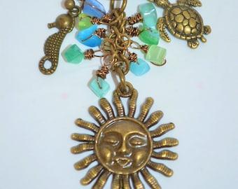 Swivel Clip Keychain // Bag Clip Bronze Sun, Bronze Sun Keychain, Sea Turtle Keychain, Sea Horse Keychain, Sea Glass Keychain