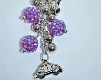 Swivel Clip Keychain VW Beetle, Purple VW Keychain, VW Purse Clip, Volkswagen Beetle Keychain, Purple Volkswagen Bug Clip