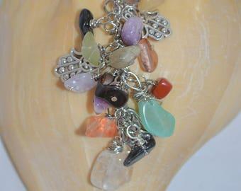 Swivel Clip Keychain or Bag Clip Hamsa Hand & Semi Precious Stones , Hamsa Hand Keychain, Semi Precious Stone Keychain