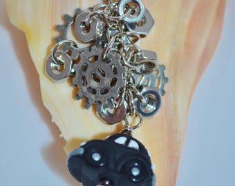 Swivel Clip Keychain VW & Cogs, Black VW Beetle Keychain, VW Bug Bag Clip, Black Volkswagen Clip, Volkswagen Beetle Keychain or Bag Clip