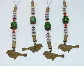 Christmas Ornaments Bronze Birds, Beaded Bird Ornaments Set of 4