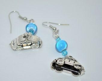 Earrings VW Beetle, Volkswagen Beetle Earrings, VW Bug Earrings, Blue Bead Volkswagen Bug Earrings, Volkswagen Earrings