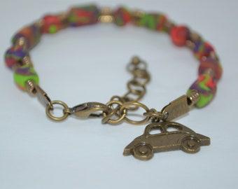 Bracelet VW Beetle & Clay Tie Dye Beads with Bronze Accents, VW Bracelet, VW Beetle Bracelet, Volkswagen Bug Bracelet