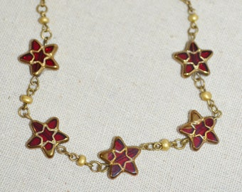 Ankle Bracelet Stars, Red Star Anklet, Bronze Anklet with Glass Stars, Star Bead Anklet