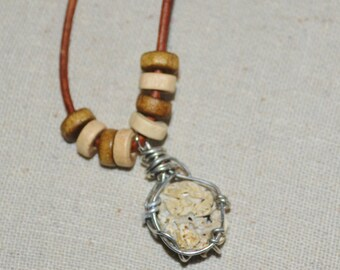 Necklace Beach Rock, Beach Junk on Leather Cord, Beach Find Wrapped in Wire on Leather Cord, Wire Wrapped Beach Junk on Leather Cord