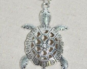 Keychain Turtle, Turtle Keychain, Silver Tortoise Keychain, Sea Turtle Keychain, Tortoise keychain Turtle on Split Ron Keychain