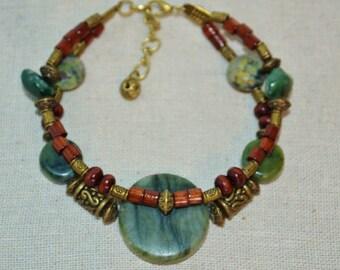 Ankle Bracelet or Bracelet Green Stone, Wood Bead & Stone Anklet