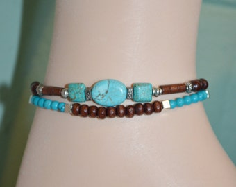Anklet Bracelet Turquoise & Wood Beads, Turquoise Anklet, Wood Bead Anklet, 2 Strand Turquoise and Wood Bead Anklet, Southwestern Anklet