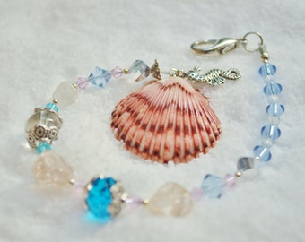 Sun Catcher Scallop Shell, Seahorse, Freshwater Pearl & Glass Beads