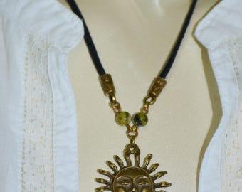 Necklace Sun & Turquoise, Sun Necklace, Leather Sun Necklace, 1 of a Kind Sun Necklace