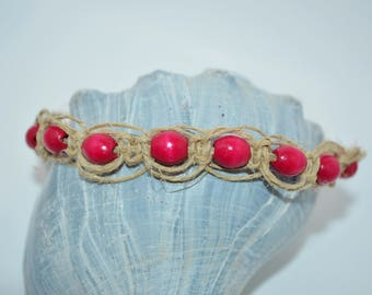 Ankle Bracelet Hemp & Red Wood Beads, Red Bead and Hemp Anklet