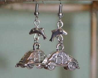 Earrings VW Beetle & Dolphin, Volkswagen Earrings, VW Beetle Earrings, Dolphin Earrings, VW Bug Earrings, Volkswagen and Dolphin Earrings