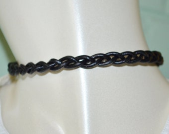 Choker Black Leather, Braided Black Leather Choker, Leather Choker, Tight Leather Choker, Trendy Choker, Braided Leather Choker