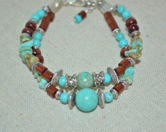 Bracelet Turquoise & Wood Beads, 2 Strand Wood Bead Bracelet, Turquoise and Silver Bracelet, Mulit Strand Turquoise Southwestern Bracelet