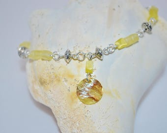 Ankle Bracelet Yellow Glass Chips & Shell, Shell Anklet, Yellow Bead Anklet, Yellow Shell Anklet, Shell Anklet