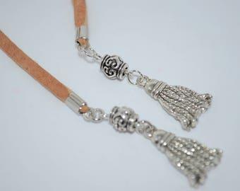 Choker Suede with Tassels, Tassel Wrap Choker, Tan Leather Tassel Choker, Tassel Necklace