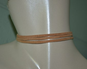 Choker Tan Suede Leather, Multi Strand Suede Choker, Suede Leather Choker, Tan Choker, Leather Choker