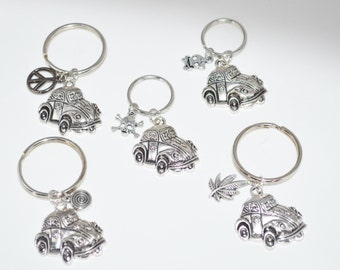 KeyChains VW Beetle with Choice of charms Skull Peace Butterfly Pot Leaf Spiral