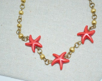 Ankle Bracelet Starfish, Bronze & Red Beaded Anklet, Starfish Anklet, Beachy Anklet