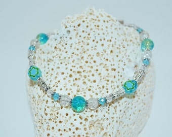 Ankle Bracelet Blue Beads, Glass Flower Bead Anklet, Blue & Clear Beaded Anklet, Beachy Blue Anklet, Flower Anklet