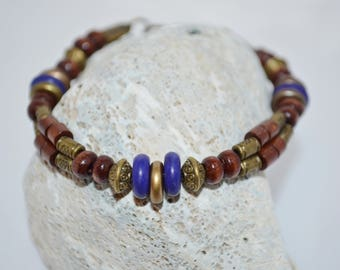 Bracelet Blue & Wood Beads, Blue and Bronze Bracelet, Dark Blue Bead Bracelet, Wood Bead Bracelet, 1 of a kind Beaded Bracelet