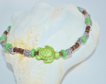 Ankle Bracelet Green Sea Turtle, Coconut Bead & Sea Turtle Anklet, Wood Bead with Sea Turtles Anklet