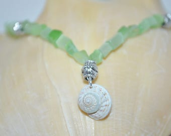 Necklace Shell & Sea Glass, Button Shell Choker, Button Shell Necklace, Sea Shell Necklace, Glass Bead Shell Choker, Sanibel Island FL Shell