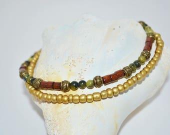 Ankle Bracelet Bronze, 2 Strand Turquoise & Bronze Anklet, Yellow Turquoise Anklet, 2 Strand Wood Bead Anklet, 1 of a kind Turquoise Anklet