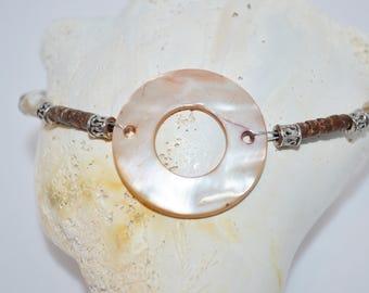 Ankle Bracelet Shell Donut, Shell Bead Anklet, Coconut Bead Anklet, Beachy Anklet, Shell & Coconut Bead Anklet
