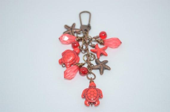 a19848c5fa Swivel Clip Keychain Red Sea Turtles & Starfish Sea Turtles   Etsy