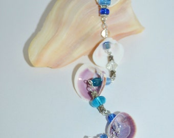 Shell Sun Catcher, Glass Bead Sun Catcher with Shells, Lady In Waiting Venus Shell Sun Catcher