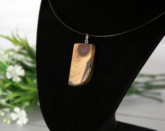 Cedar Wood & Resin Fusion Pendant Necklace