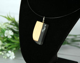 Charred Pine Wood & Resin Fusion Pendant Necklace