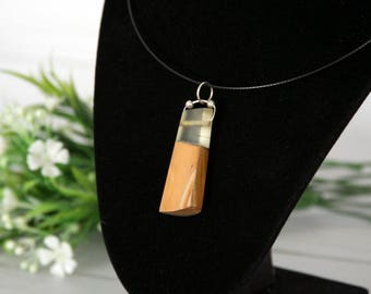 Charred Wood & Resin Fusion Pendant Necklace