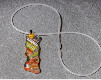 "Handmade Orange and Yellow Fused Dichroic and Mille Fiori Glass ""Rectangle 2"" Pendant on silver plate bail, hand-cut, kiln-fired, 1 in stock"