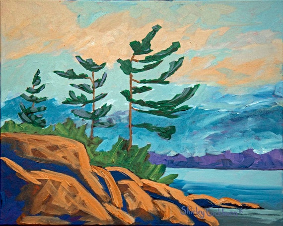820 Northern Ontario Landscape Painting Print Trees Pines Etsy