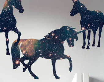 Space Unicorn Wall Decal Set by Chromantics - Unicorn Silhouette Decal