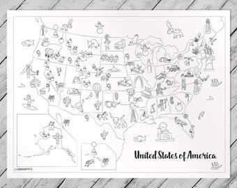 USA Map Giant Coloring Poster
