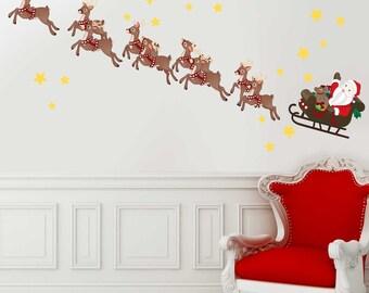 Tumbler Decal LAPTOP STICKER wall Reindeer rides Christmas fun VINYL Decal