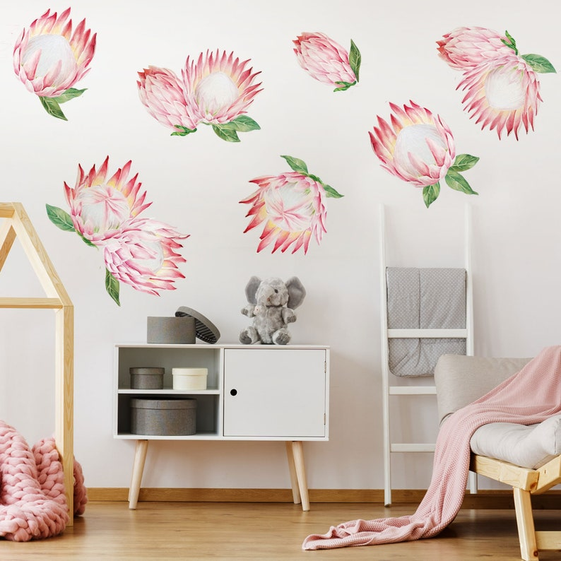 5759b806cd King Protea Watercolor Wall Decal Kit Pink Flower Wall Decal | Etsy