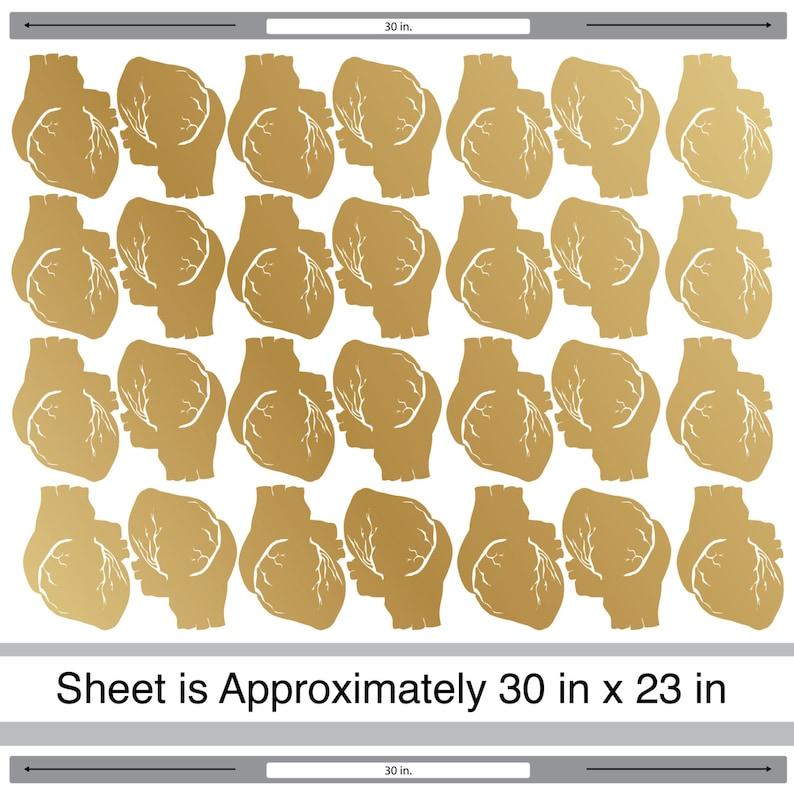 Heart of Gold Decal Set Gold Kiss Cut Anatomical Heart Decal by Chromantics