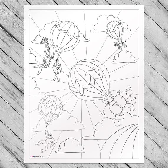 Safari Balloon Adventure Giant Coloring Poster - Zoo Animal Coloring Page  by Chromantics