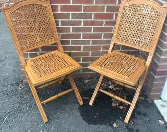 SOLD U2014u2014 Antique Wooden Wood Folding Chairs Wicker Rush Seating Seats And  Back