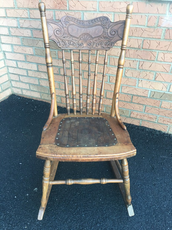 Brilliant Antique Petite Rocking Chair Wood Ornate Spindle Nailhead Andrewgaddart Wooden Chair Designs For Living Room Andrewgaddartcom