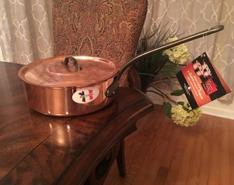 French Copper Sauté pan saucepan by Baumalu made in France