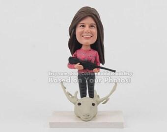 Custom hunter bobblehead - Birthday gift for her, Birthday gift to her, Woman Birthday Gifts, Birthday gift ideas for her