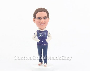Custom Bobbleheads and Figurines with your looks, Valentines gift for her,  custom girls bobblehead, unique  Valentines gift for girlfriend