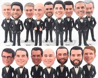 Custom Bobblehead groomsmen wear black suit - Groomsmen bobblehead for best man , Personalized bobblehead business gifts