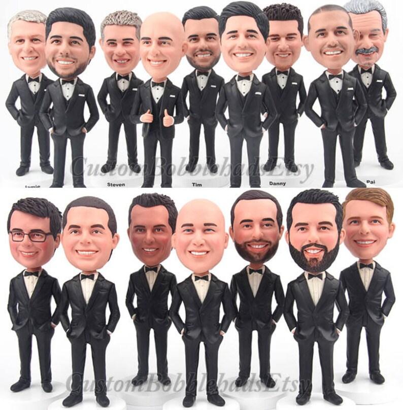 Custom Bobblehead groomsmen wear black suit  Groomsmen image 1
